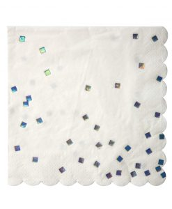hvide servietter med bølgekant og sølv konfetti drys