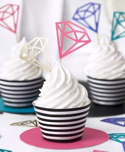 Sort og hvid stribede cupcake wrappers
