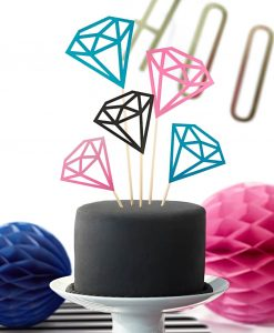 Diamant cake toppers - mix af pink, sort og turkis