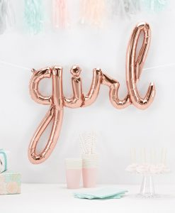"""Girl"" folie script ballon i rose gold"