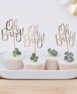 "Guld ""Oh Baby!"" cupcake toppers"
