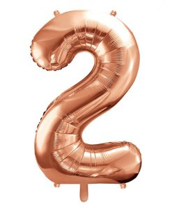 Stor rose gold folie tal ballon - 86 cm. - 2