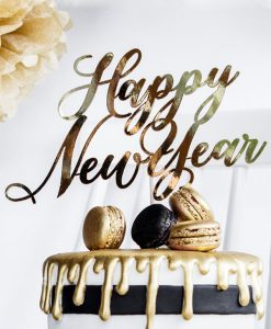 Guld Happy New Year cake topper