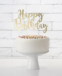 Happy Birthday cake topper - guld