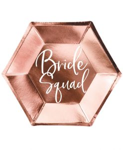 Rose gold Bride Squad tallerkener