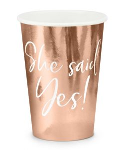 Rose gold papkrus til polterabend - She said yes!