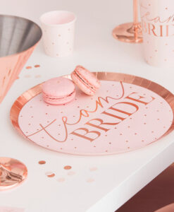 Blush pink og rose gold Team Bride paptallerkener