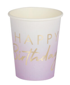 Lavendelfarvede ombre papkrus - Happy Birthday
