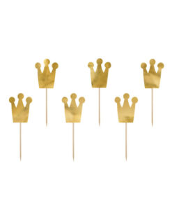 Guld prinsessekrone cupcake toppers