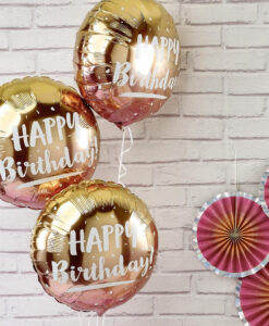 Rose gold ombre Happy Birthday folieballon