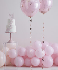 Rose gold Happy Birthday ballon haler - 5 stk.
